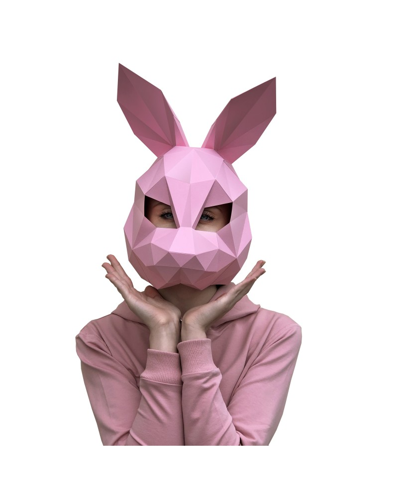 Wizardi 3D Papercraft Kit Hare Mask Pink PP-3ZAY-PIN