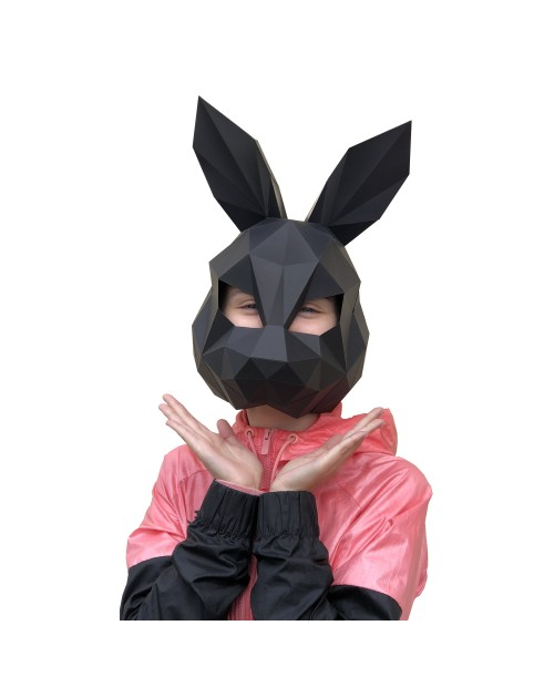 Wizardi 3D Papercraft Kit Hare Mask Black PP-3ZAY-BLA