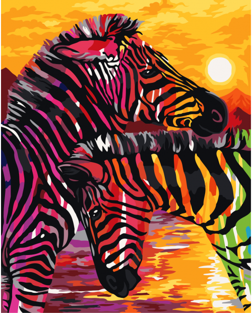 H069 Colourful Zebras