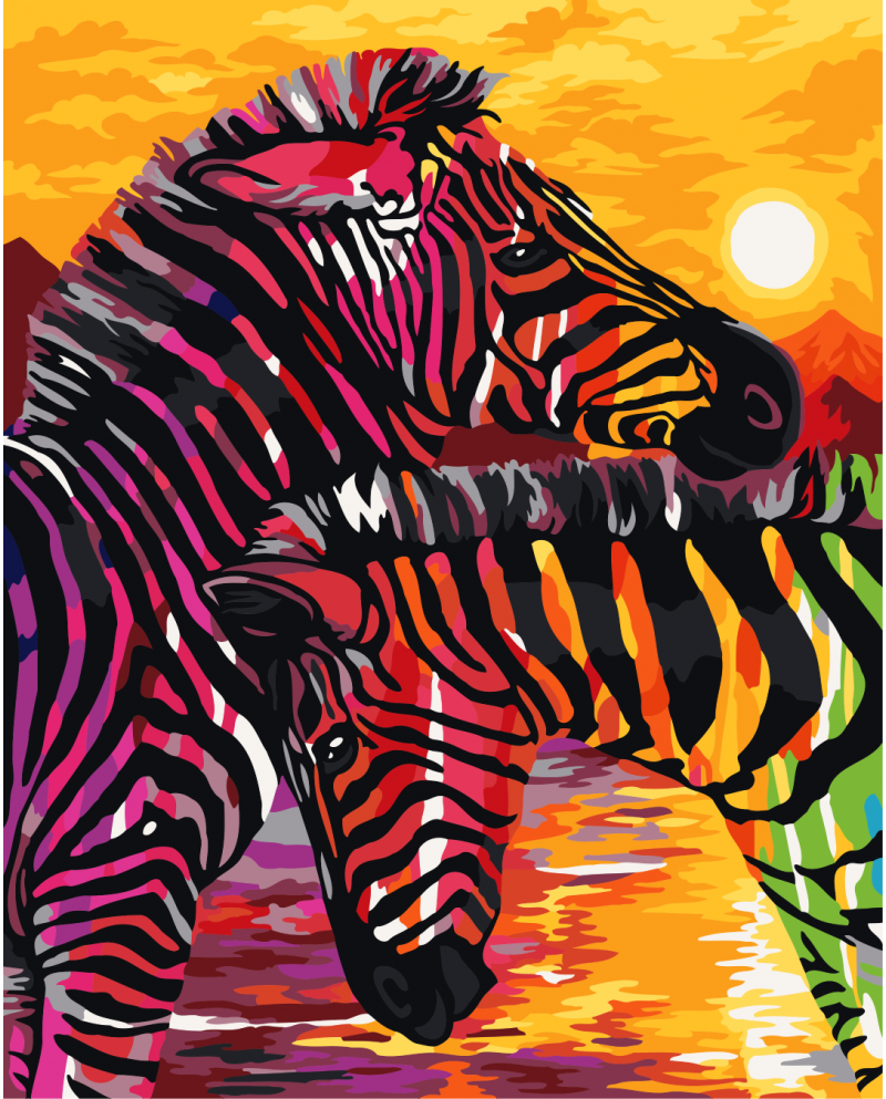 H068 Colourful Zebras