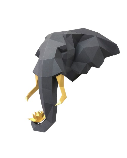 Wizardi 3D Papercraft Kit Elephant and Lotus PP-1SLL-2GG